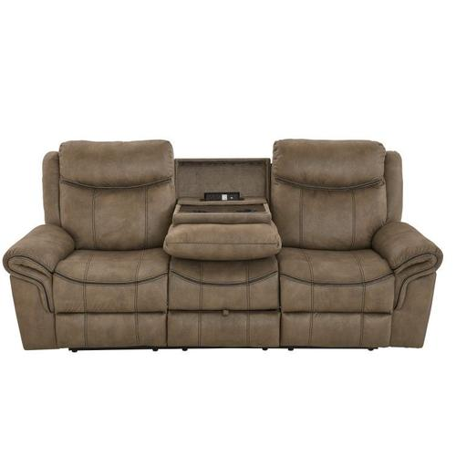 Gallery - Knoxville Manual Motion Sofa with Console Table and Drawer, Mocha