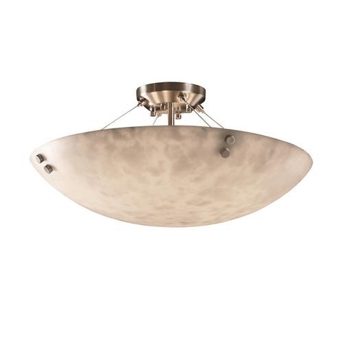 "48"" Semi-Flush Bowl w/ Concentric Circles Finials"