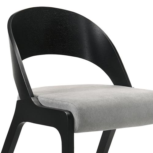 Armen Living - Polly Mid-Century Grey Upholstered Dining Chairs in Black Finish - Set of 2