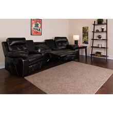 See Details - Reel Comfort Series 3-Seat Reclining Black LeatherSoft Theater Seating Unit with Curved Cup Holders