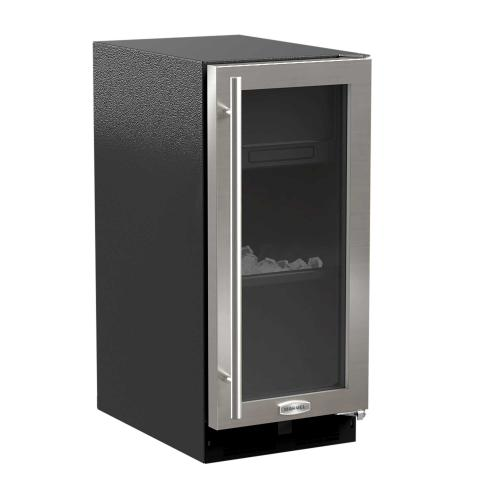 Marvel - 15-In Built-In Clear Ice Machine With Arctic White Illuminice with Door Style - Stainless Steel Frame Glass, Door Swing - Right, Pump - Yes
