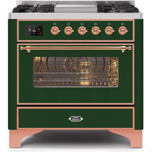 Majestic II 36 Inch Dual Fuel Natural Gas Freestanding Range in Emerald Green with Copper Trim