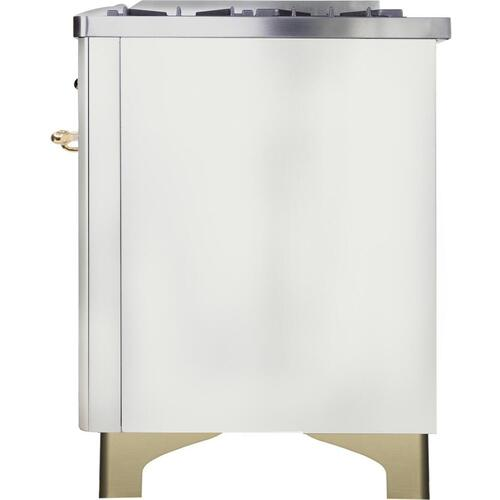 Majestic II 48 Inch Dual Fuel Liquid Propane Freestanding Range in White with Brass Trim