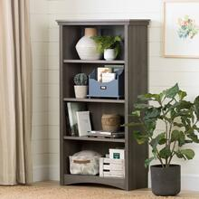 4-Shelf Bookcase - Gray Maple