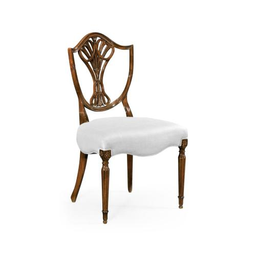 Sheraton Dining Side Chair with Shield Back in Antique Mahogany, Upholstered in COM