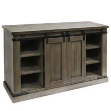 TAUPE GRAY  52in w X 32in ht X 18in d  Sliding Barn Door Pine Media Console with Removable Shelves