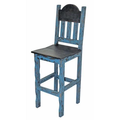 "Turq. Scrap 30""stool Wood Seat"