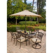 Hanover Traditions 7 Pc. Outdoor Dining Set of Four Dining Chairs, Two Swivel Chairs, Dining Table, Umbrella, and Base, TRADITIONS7PCSW-SU