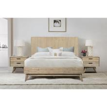 Baly 3 Piece Acacia Queen Platform Bed and Nightstands Bedroom Set