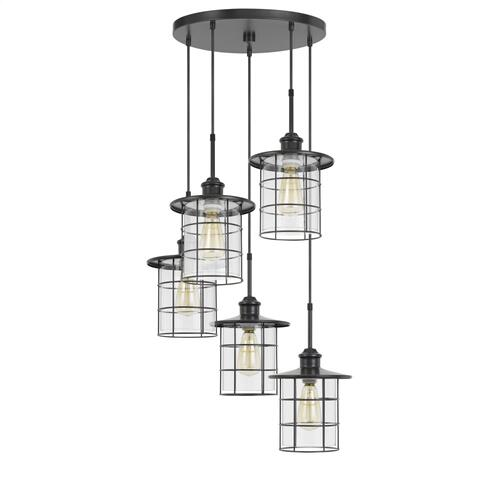 60W x 5 Silverton metal/glass pendant fixture (Edison bulbs NOT included)