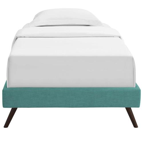 Loryn Twin Fabric Bed Frame with Round Splayed Legs in Teal