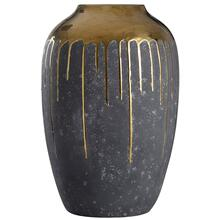 Marloe Gold  18In Ceramic Vase In Charcoal & Reflective Gold