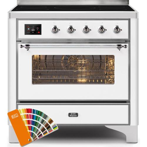 Ilve - Majestic II 36 Inch Electric Freestanding Range in Custom RAL Color with Chrome Trim
