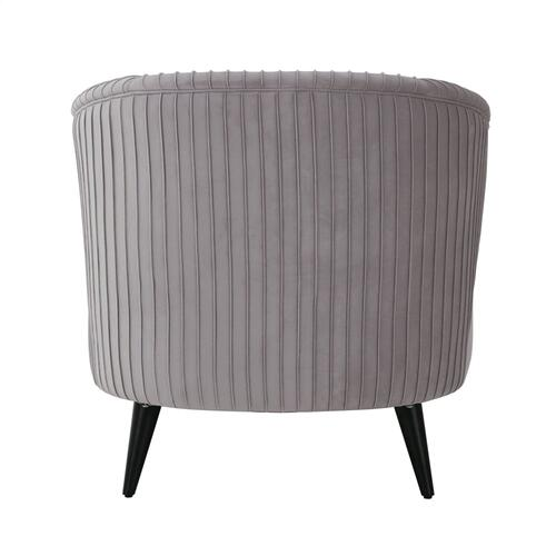 Maliah Pleated Grey Velvet Settee