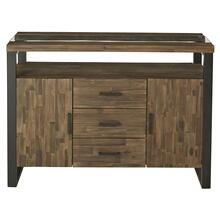 Dumont Sideboard, Brown Mahogany Finish with Black Metal Base