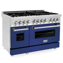 """View Product - ZLINE 48"""" Professional Dual Fuel Range in Stainless Steel with Color Door Options (RA48) [Color: Blue Matte]"""