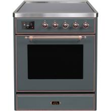 Majestic II 30 Inch Electric Freestanding Range in Blue Grey with Bronze Trim