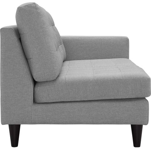 Empress Right-Facing Upholstered Fabric Loveseat in Light Gray
