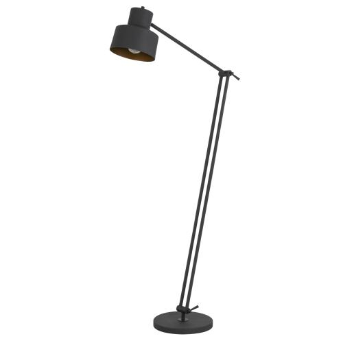 60W Davidson metal floor lamp with weighted base, adjustable upper and lower arms. On off socket switch