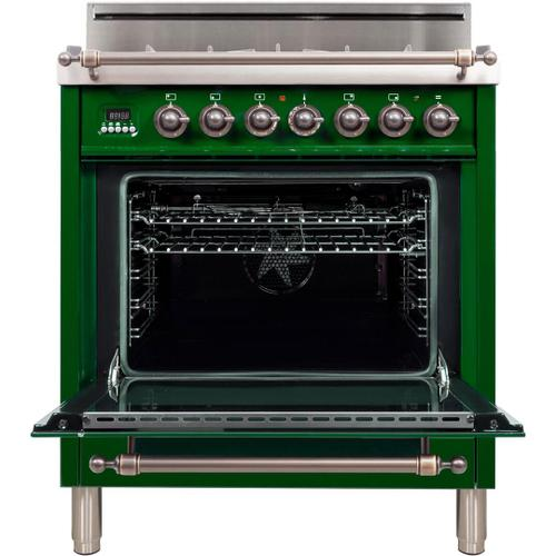 Nostalgie 30 Inch Gas Natural Gas Freestanding Range in Emerald Green with Bronze Trim
