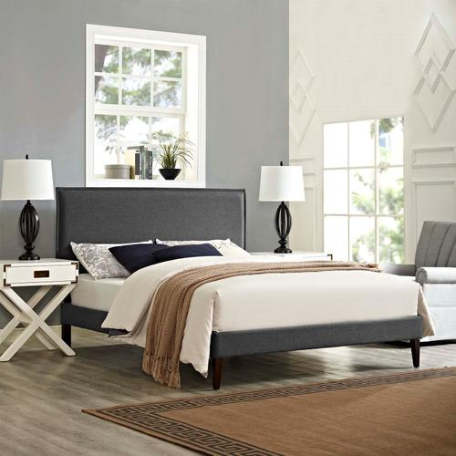 Modway - Amaris Queen Fabric Platform Bed with Squared Tapered Legs in Gray