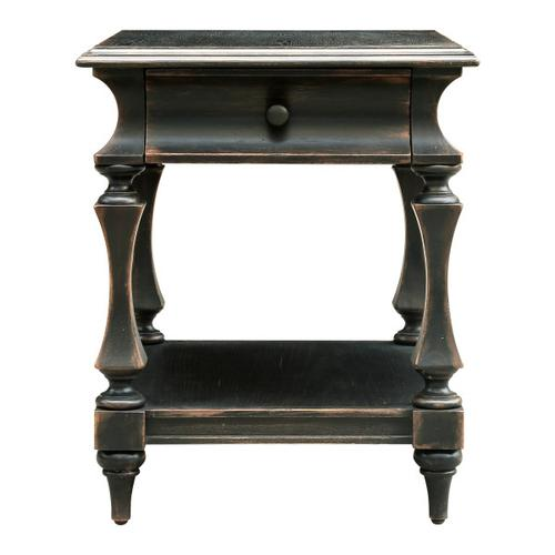 Shaped Post End Table in Gray