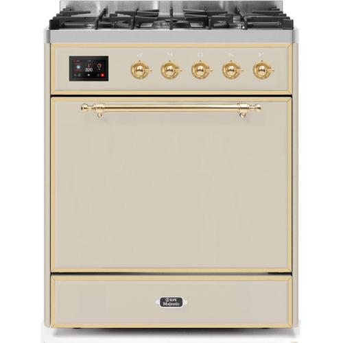 Product Image - Majestic II 30 Inch Dual Fuel Liquid Propane Freestanding Range in Antique White with Brass Trim