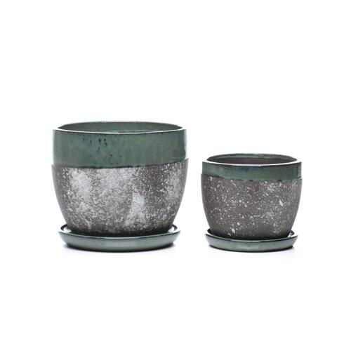 Wild Rimmed Mezzo Planter w/ attached saucer - Set of 2
