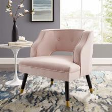 Traipse Button Tufted Open Back Performance Velvet Armchair in Pink