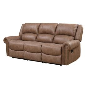 See Details - Spencer Reclining Sofa Light Brown