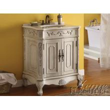 Verena White Sink w/Marble Top Set