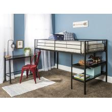 Sunset Twin Low Loft Bunk Bed with Desk - White
