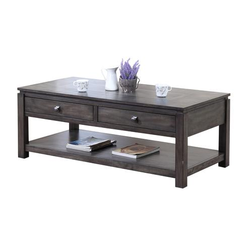 Coffee Table w/Drawers and Shelf - Shades of Gray