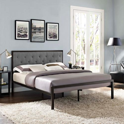 Modway - Mia Queen Fabric Bed in Brown Gray