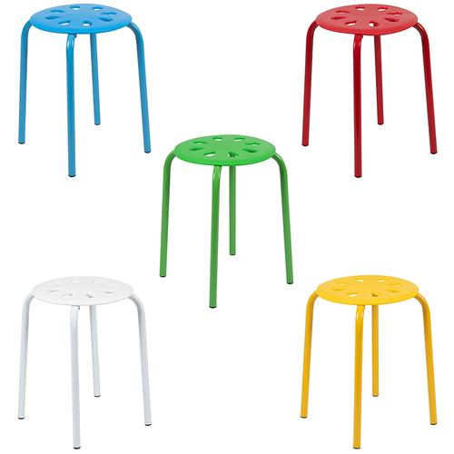 """Flash Furniture - Plastic Nesting Stack Stools, 17.5""""Height, Assorted Colors (5 Pack)"""