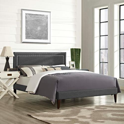 Modway - Virginia Queen Fabric Platform Bed with Squared Tapered Legs in Gray