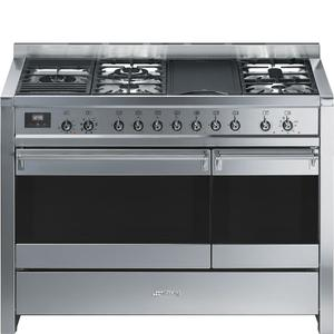 "SmegFree-standing Dual Fuel Dual Cavity ""Opera"" Range Approx. 48"" Stainless Steel Gas Rangetop With Electric Grill"