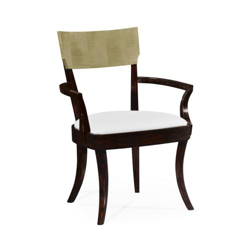 Art Deco Champagne Dining Armchair, Upholstered in COM