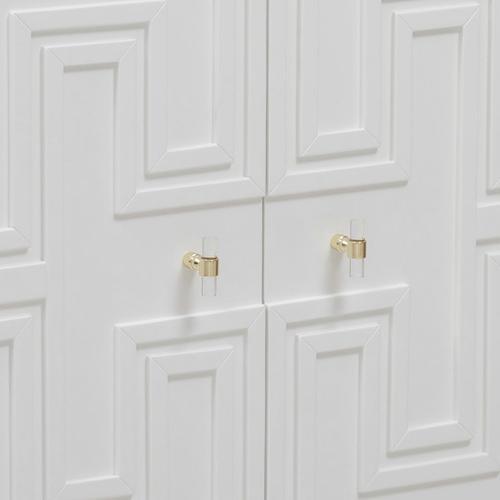 Greek Key White Geometric Door Chest