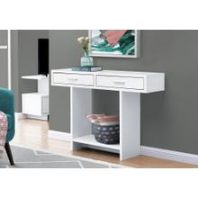 """ACCENT TABLE - 48""""L / WHITE WITH DRAWERS"""