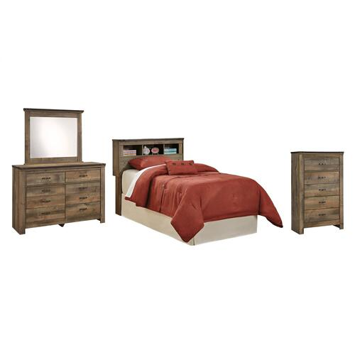 Twin Bookcase Headboard With Mirrored Dresser and Chest