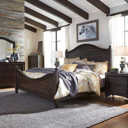 Liberty Furniture Industries - King Poster Bed, Dresser & Mirror, Chest, Night Stand
