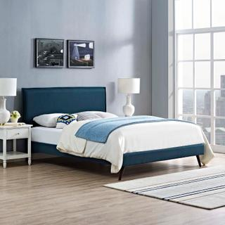 Product Image - Amaris Queen Fabric Platform Bed with Round Splayed Legs in Azure