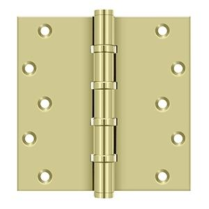 """6"""" x 6"""" Square Hinges, Ball Bearings - Unlacquered Brass"""