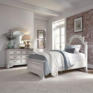Liberty Furniture Industries - Twin Upholstered Bed, Dresser & Mirror