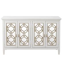 Four Door Mirror Front Console in White & Silver