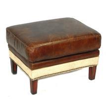 Artsome Isela Vintage Leather Ottoman