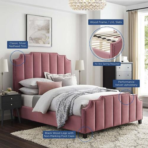 Mod6281dus In By Modway In La Mirada Ca Lucille Queen Performance Velvet Platform Bed In Dusty Rose
