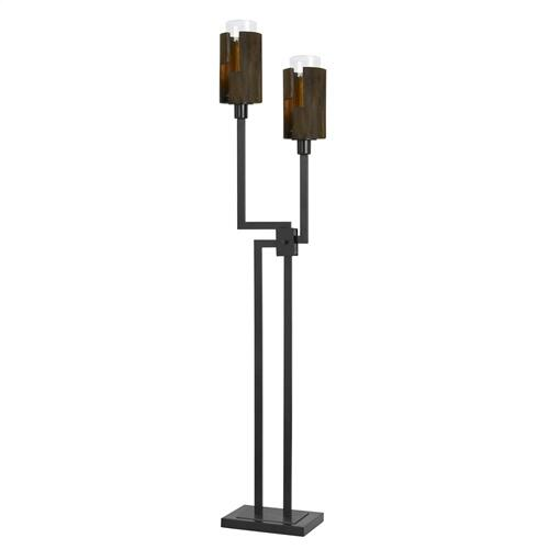 Cal Lighting & Accessories - 60W X 2 Bradford Metal And Wood Floor Lamp (Edison Bulbs Not included)