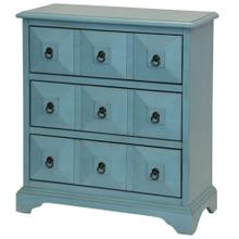 Staten Island 3 drawer Chest has metal glides. Harware is metal ring pull. Finished in sky blue col